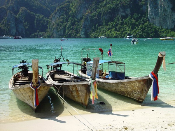 Thailand, boats in touristic Phi Phi island