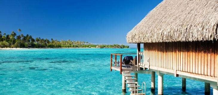 Bora Bora lagoon with bungalow